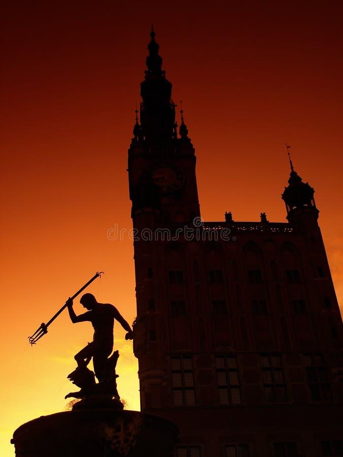 Neptun-Brunnen und Rathaus in Gdansk stockbilder