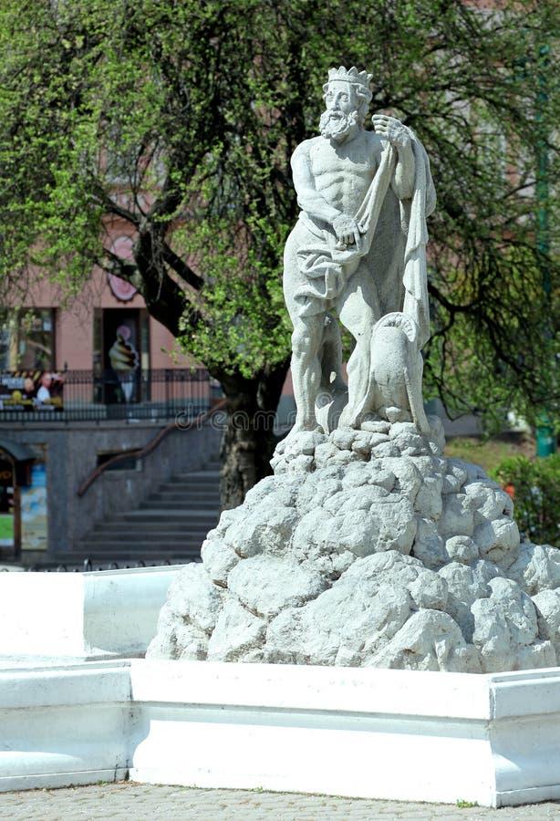 Neptun fontanna przy miastem Presov, Sistani obraz stock