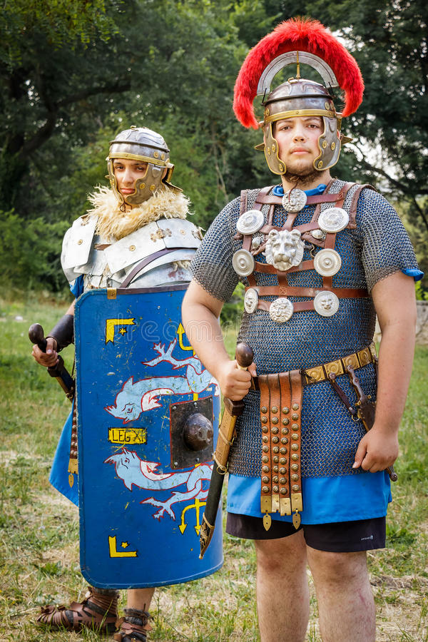 NEPTUN, ROMANIA - JULY 28, 2015 - Ancient Festival - Reenactment. Of the Roman and Dacian (Thracian) wars - Roman centurion and a soldier in armour (lorica stock photography