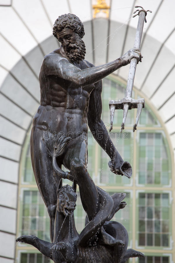 Neptune, bronze statue of the Roman God of the Sea stock images