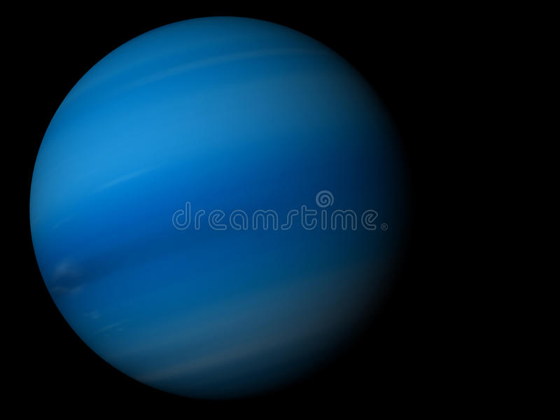 Neptune. 3D render the planet Neptune on a black background, high resolution royalty free illustration