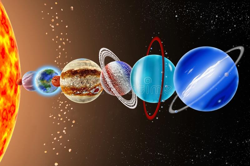 Neptune - an eighth planet of the solar system. On background Sun and starry sky royalty free stock image