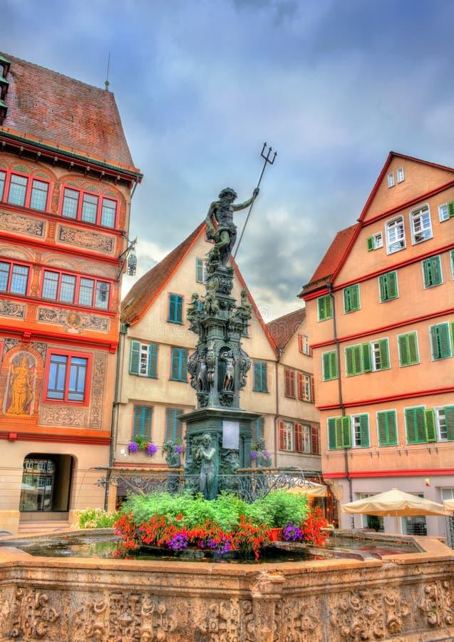Neptune fontanna przed urzędem miasta Tubingen, Niemcy zdjęcie stock
