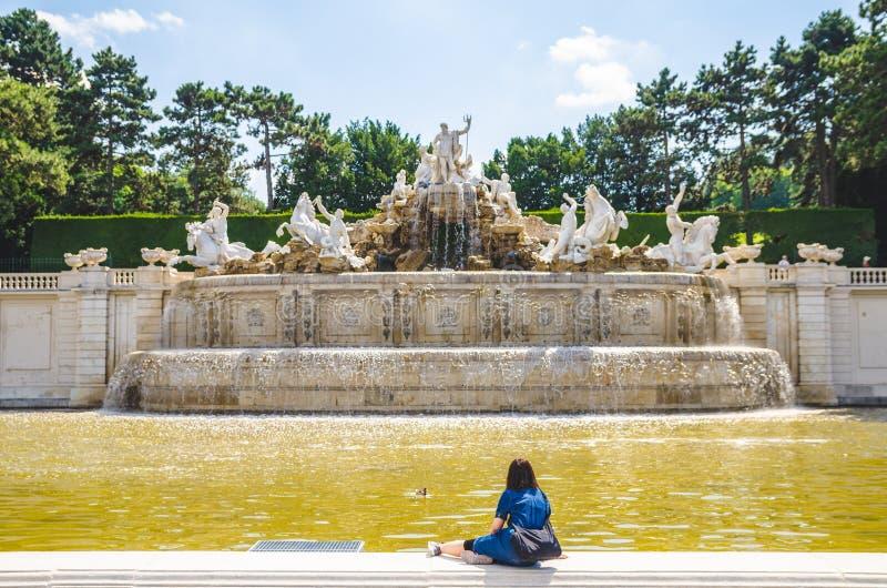 Neptune fontanna, Wielki Parterre w Wiede?, Austria obraz royalty free
