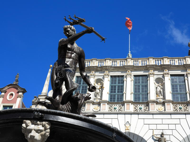 Neptune Fountain and Artus Court in Gdansk Poland stock images