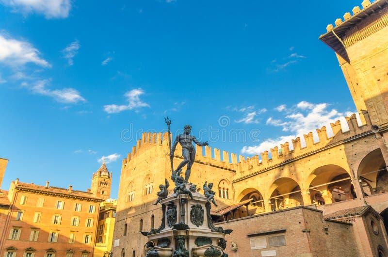 Neptune Fountain Fontana del Nettuno and Palazzo Re Enzo palace building on Piazza del Nettuno Neptune square in old historical ci stock photos