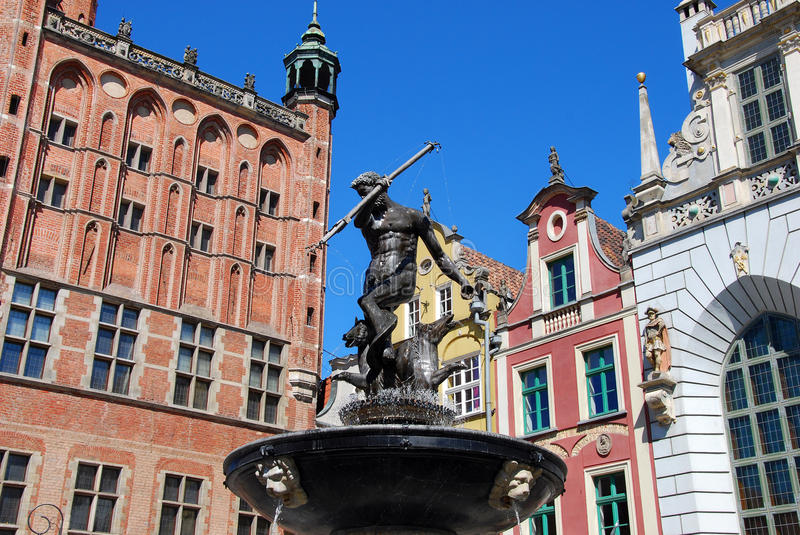 Neptune fountain in Gdansk royalty free stock photography