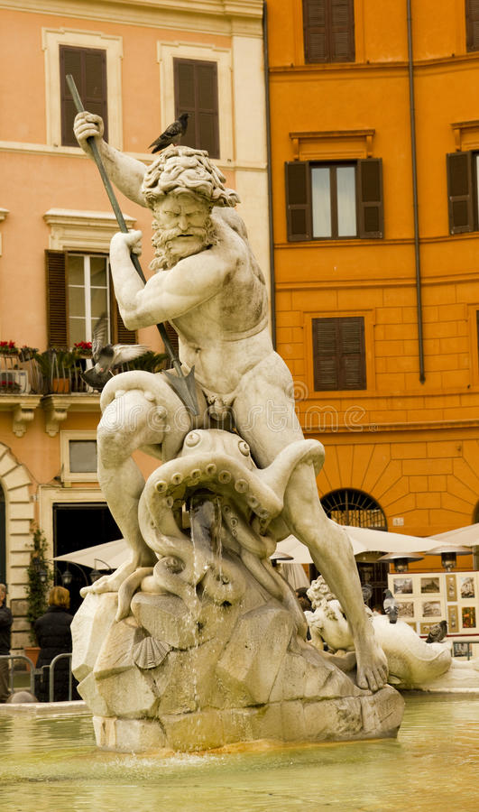 Neptune Fountain, Piazza Navova, Rome, Italy Stock Images