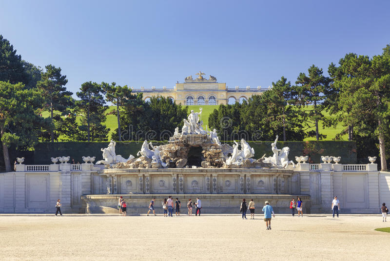 Neptune Fountain in Schonbrunn Palace in Vienna. stock photos