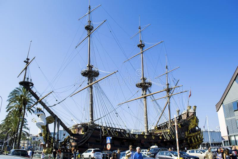 Neptune Galeon in the port of Genova italy. The Neptune Galeon in the port of Genova Italy royalty free stock photography