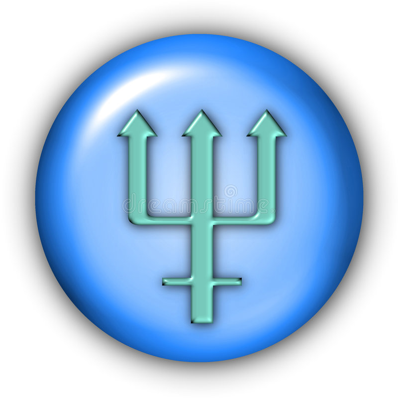 Neptune Glyphs. Planet Glyphs Button - Neptune (Include Clipping Path vector illustration