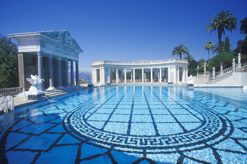The Neptune pool, Hearst Castle, San Simeon, CA stock photo