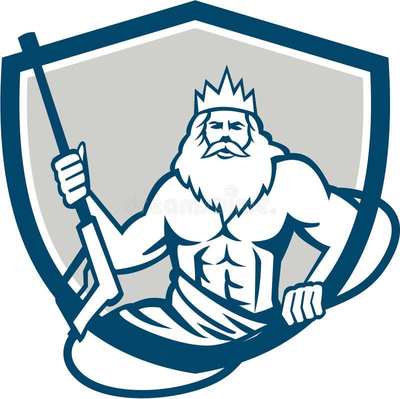 Neptune Power Washer Shield Retro vector illustration