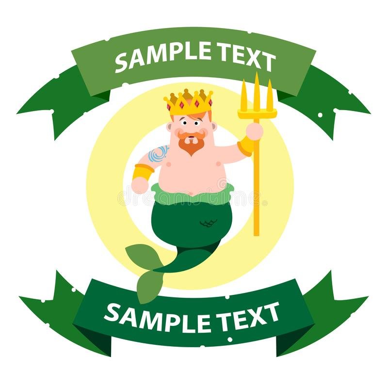 Neptune with ribbon banner. Cartoon character is king of the sea. Cartoon drawing for gaming mobile applications vector illustration