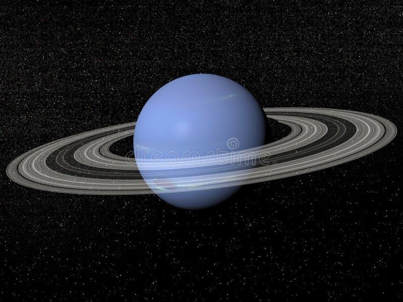 neptune and rings 3d render stock illustration