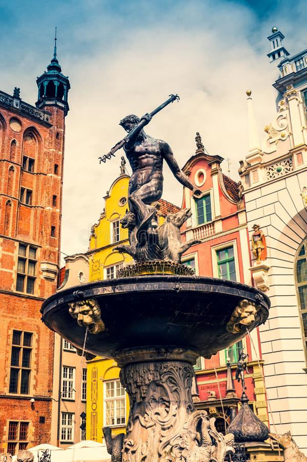 Neptune`s Fountain, Old Town in Gdansk, Poland royalty free stock image