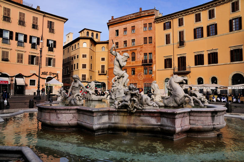 Neptune's Fountain on Piazza Navona. In Rome, Italy royalty free stock photography