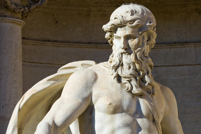 Neptune statue in Rome. Close up of the Neptune statue of the Trevi Fountain in Rome, Italy royalty free stock images