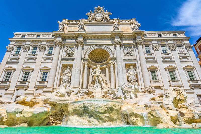 Neptune statue and the Trevi Fountain in Rome, Italy royalty free stock photos