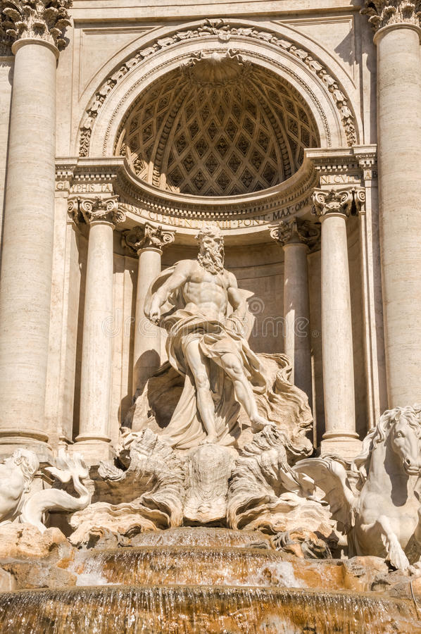 Neptune statue of the Trevi Fountain in Rome Italy stock photo