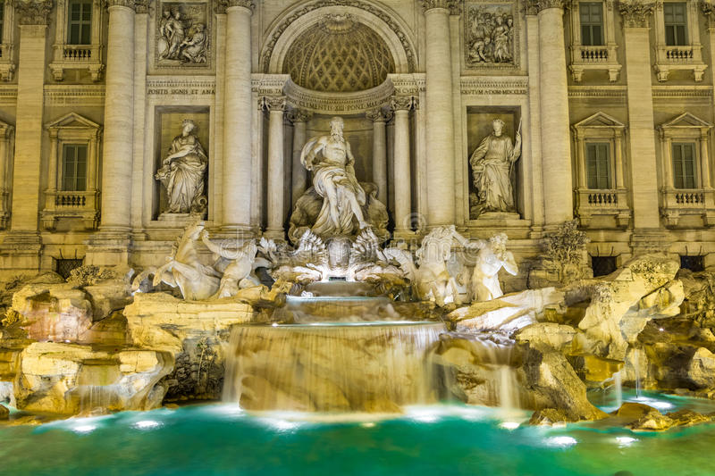 Neptune statue of the Trevi Fountain in Rome Italy royalty free stock photo