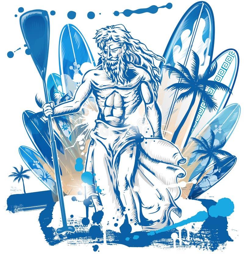 Neptune surfingowiec na surfboard ilustracja wektor