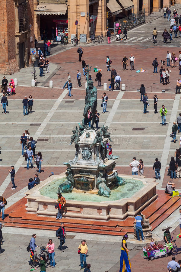 Neptunes fountain of bologna in a sunny day