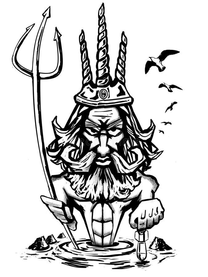 Neptuno royaltyfri illustrationer