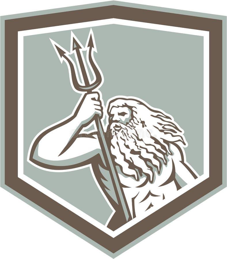 Neptuno que sostiene el escudo de Trident retro stock de ilustración