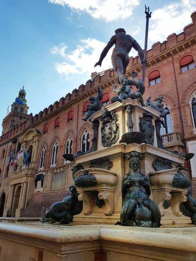 Neptunspringbrunn i bolognaen, Emilia-Romagna, Italien royaltyfri bild