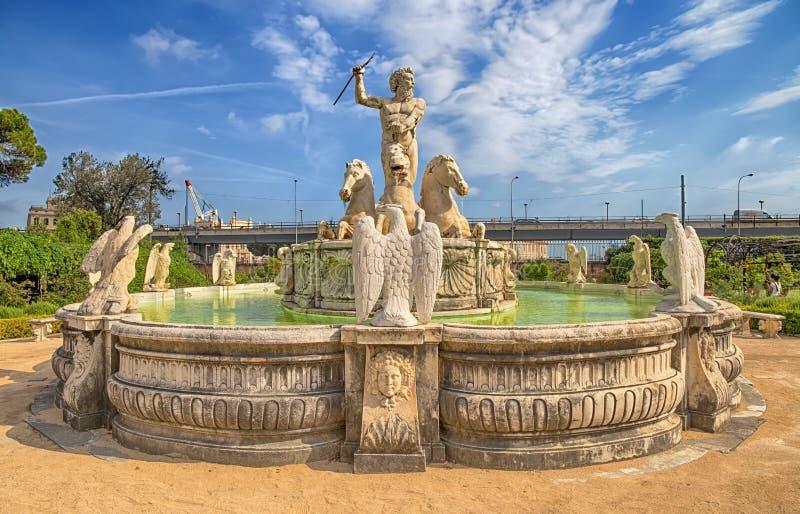 Neptunspringbrunn i trädgården av slotten för prins` s, slott för Andrea Doria ` s i Genoa Genova, Italien arkivfoto