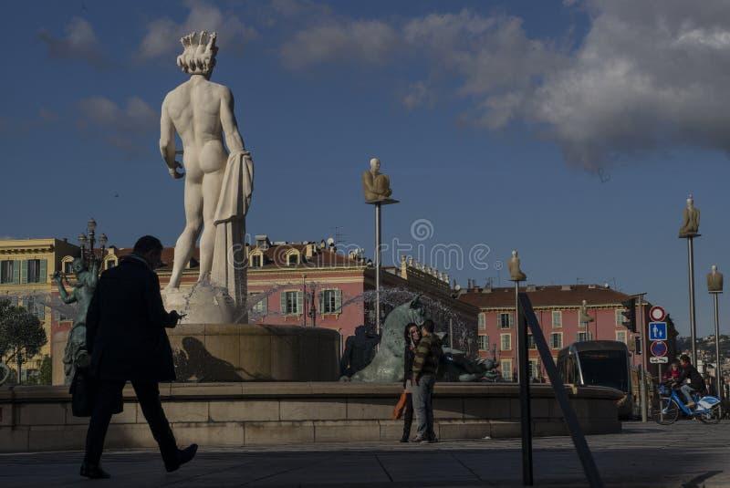 Neptunstaty, Nice, Frankrike arkivfoto