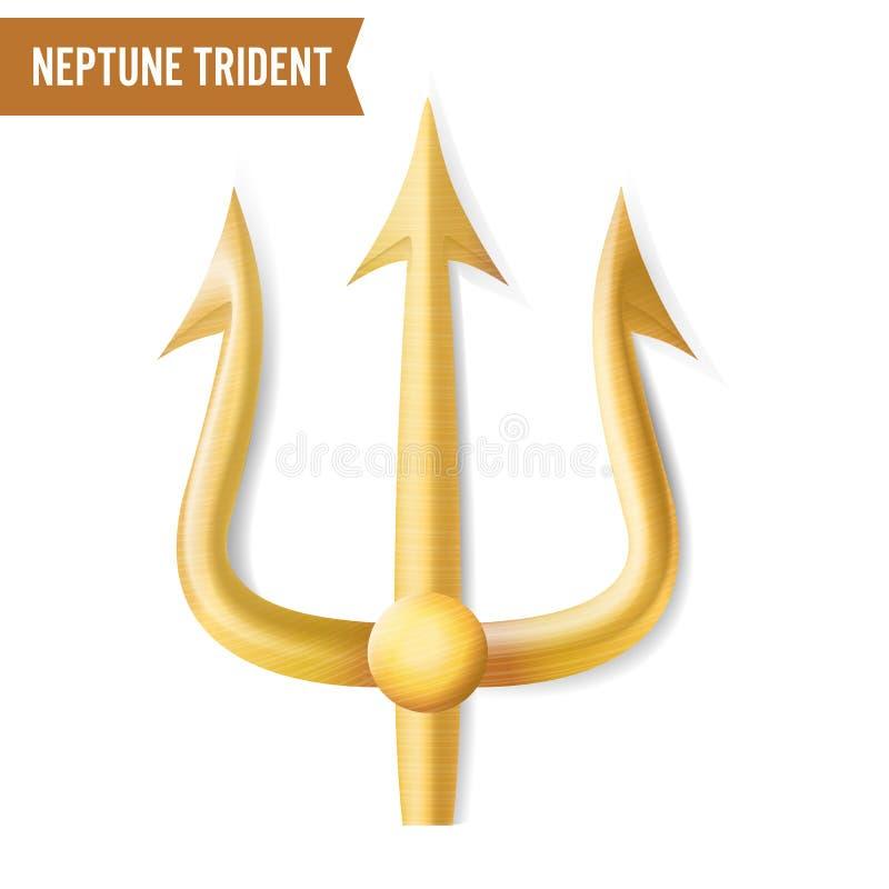 NeptunTrident vektor Guld- realistisk kontur 3D av Neptun eller det Poseidon vapnet Skarpt gaffelobjekt för högaffel stock illustrationer