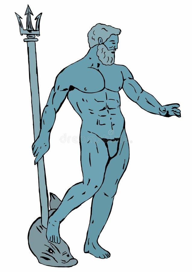 Neptunus kleurde stock illustratie