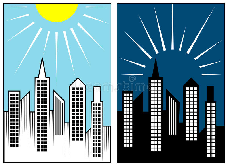 Ner tända och övre belysning stock illustrationer
