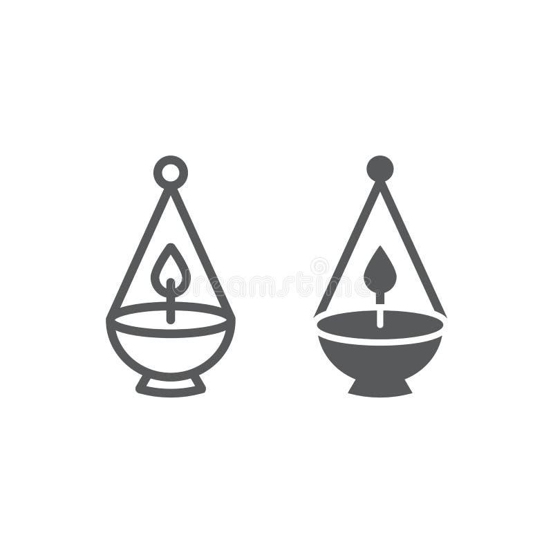 Ner tamid线和纵的沟纹象、光和以色列,犹太灯标志,向量图形,在白色的一个线性样式 皇族释放例证