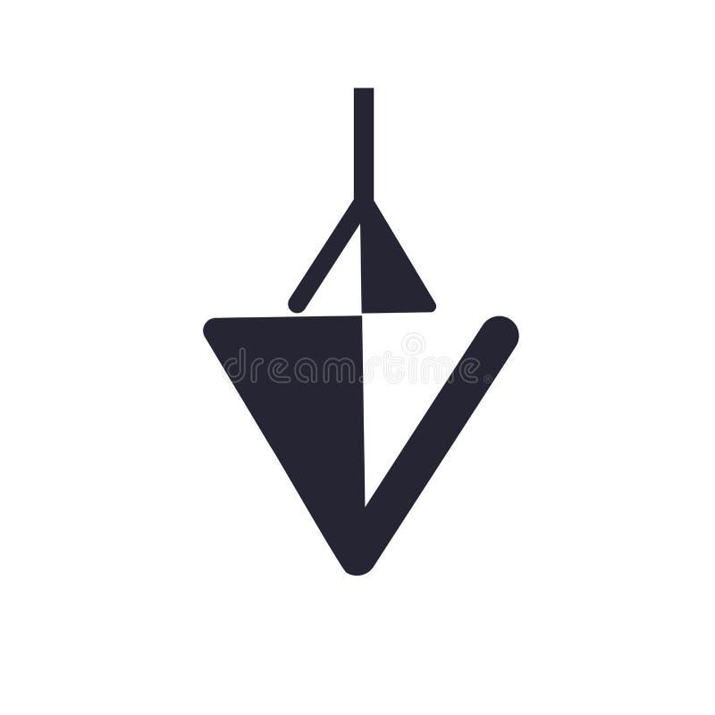 Ner tecknet och symbolet för pilsymbolsvektor som isoleras på vit bakgrund, ner pillogobegrepp royaltyfri illustrationer
