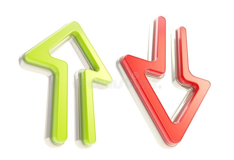 Ner upp pilsymboler, rött och grönt som isoleras vektor illustrationer