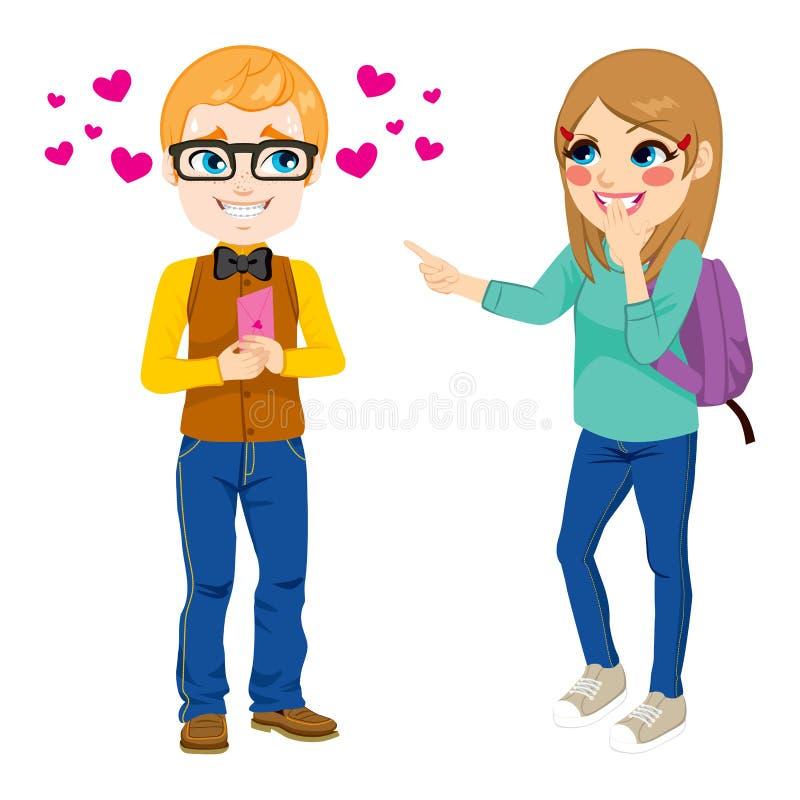 Nerd Boy Giving Love Letter vector illustration