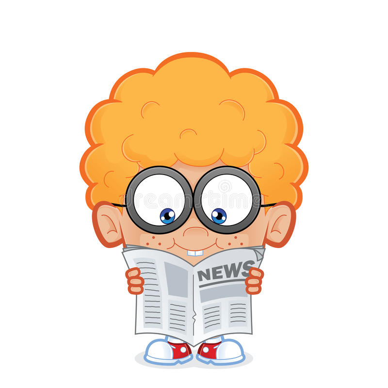 Nerd boy reading a newspaper vector illustration
