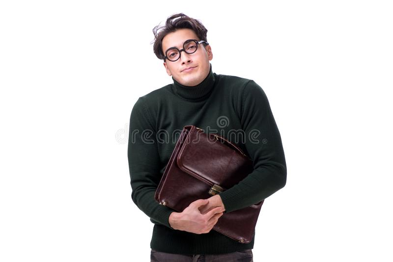 The nerd businessman with briefcase isolated on white royalty free stock photography