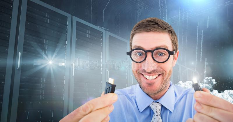 Nerd businessman holding cable with flares stock photos