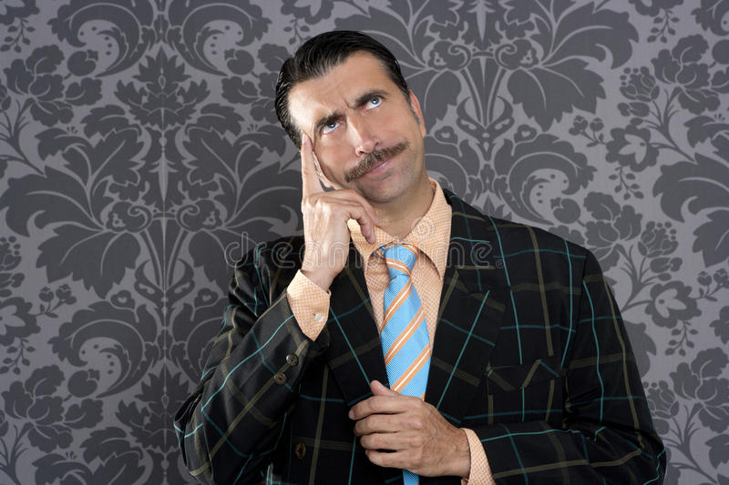 Download Nerd Businessman Pensive Gesture Silly Funny Retro Stock Image - Image of expressive, mustache: 19755229