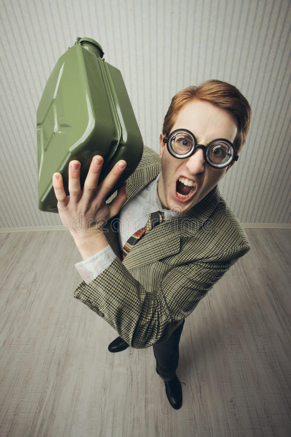 Nerd businessman shouting angry stock image