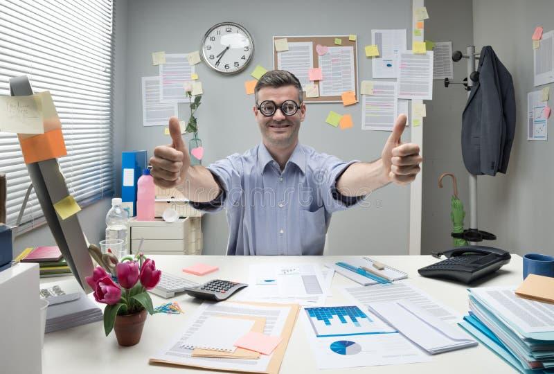 Nerd businessman thumbs up royalty free stock photo