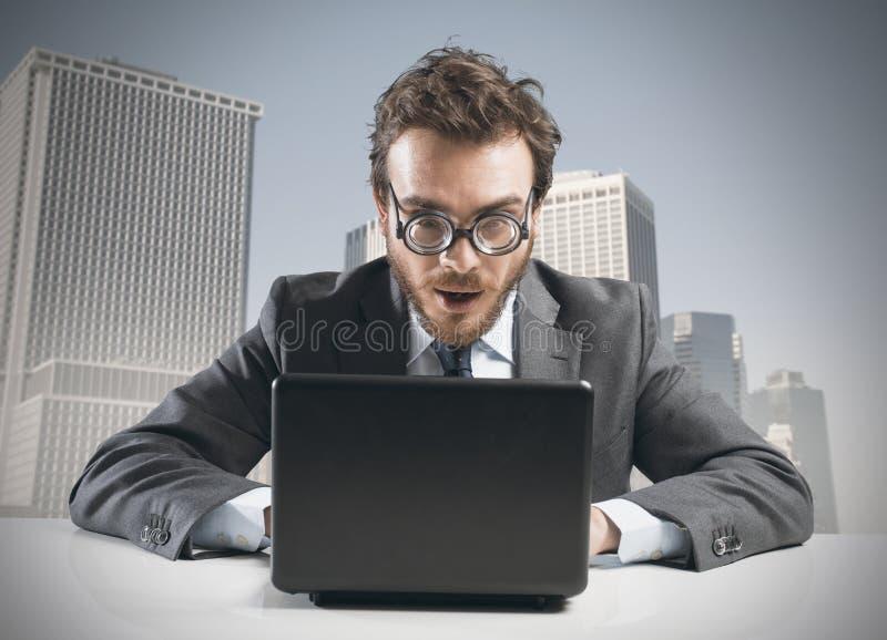 Nerd businessman royalty free stock image