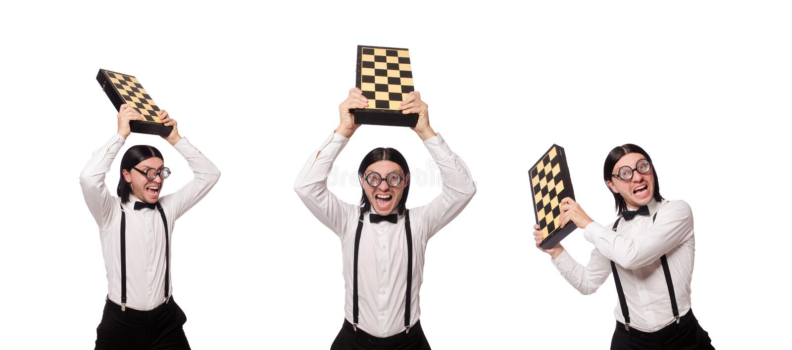 The nerd chess player isolated on white royalty free stock image