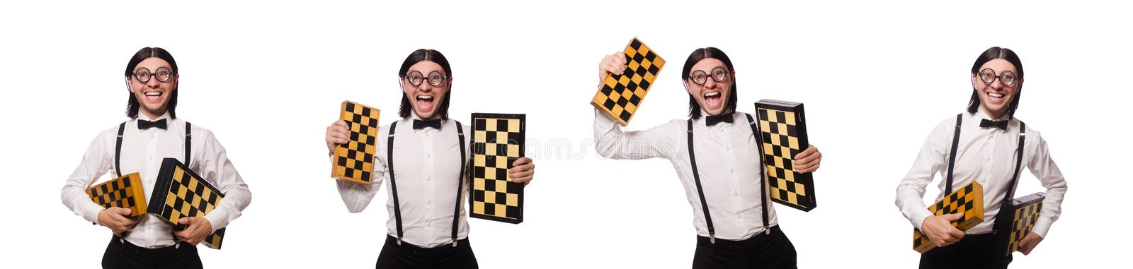 The nerd chess player isolated on white stock photography