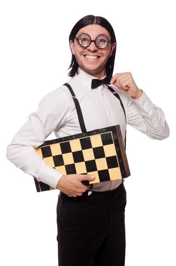 Nerd chess player royalty free stock photo
