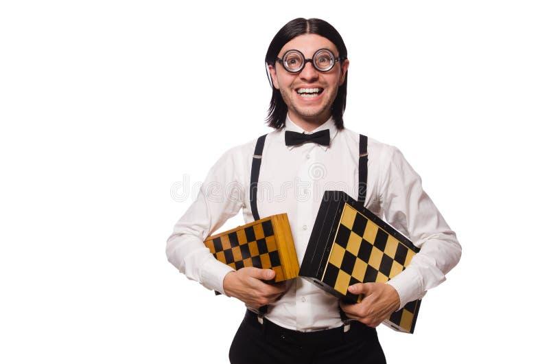 Nerd chess player royalty free stock image